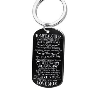 To my daughter key chain bag charm necklace new